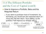 11 6 the efficient portfolio and the cost of capital cont d