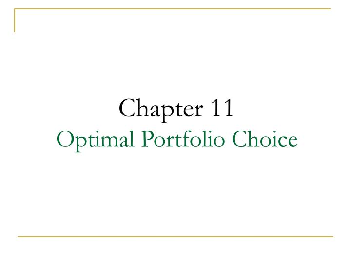 chapter 11 optimal portfolio choice