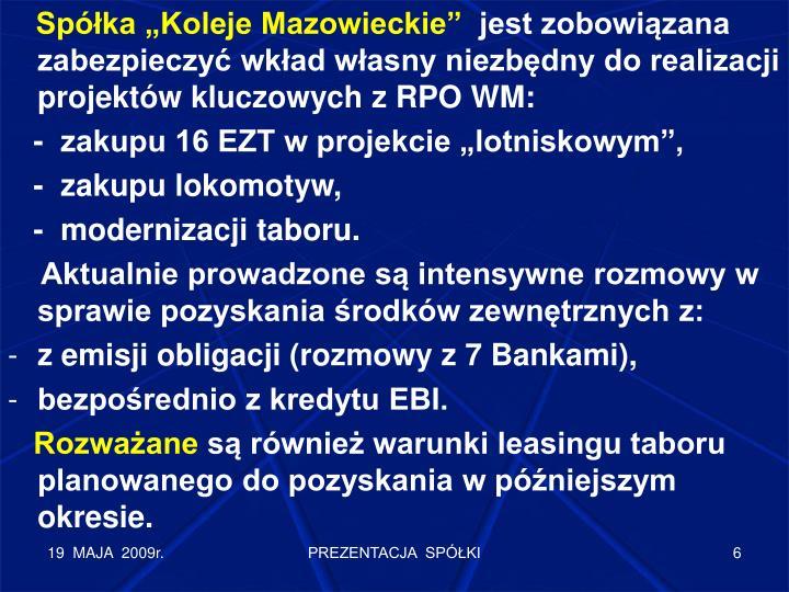 """Spółka """"Koleje Mazowieckie"""""""