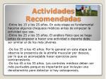 actividades recomendadas