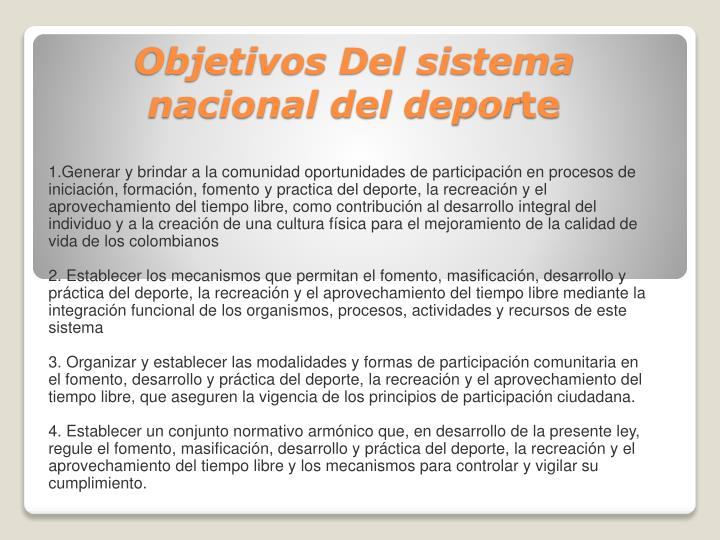 Objetivos Del sistema nacional del depor
