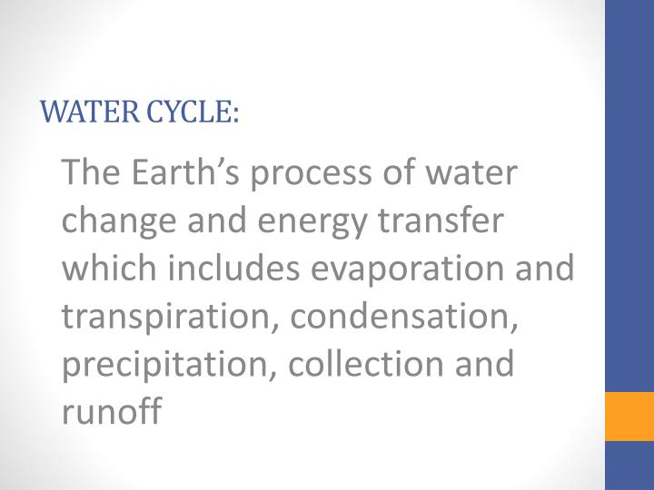 The Earth's process of water change and energy transfer which includes evaporation and transpiration, condensation, precipitation, collection and runoff