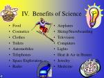 iv benefits of science