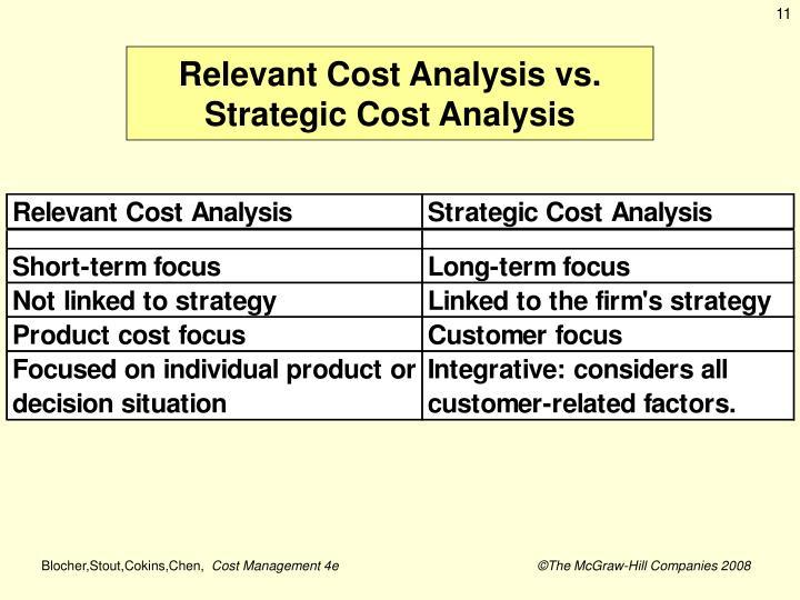 Relevant Cost Analysis vs.