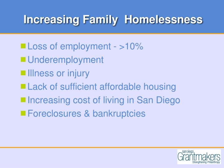Increasing Family  Homelessness