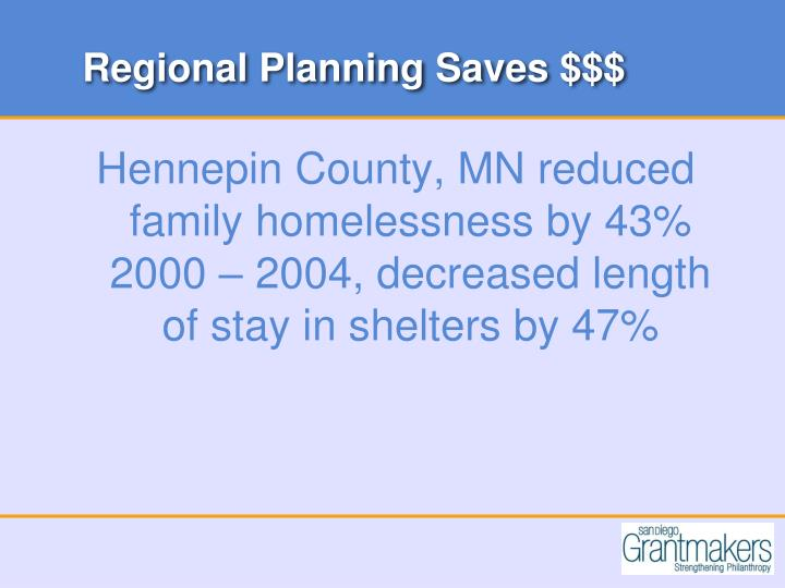 Regional Planning Saves $$$