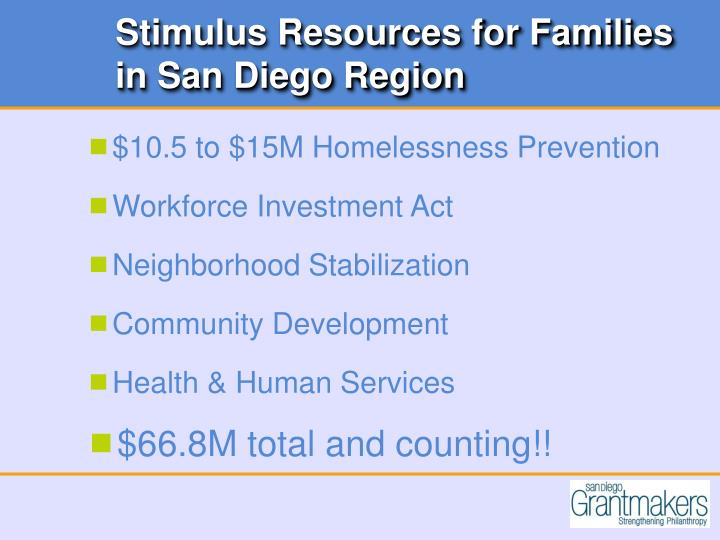 Stimulus Resources for Families in San Diego Region
