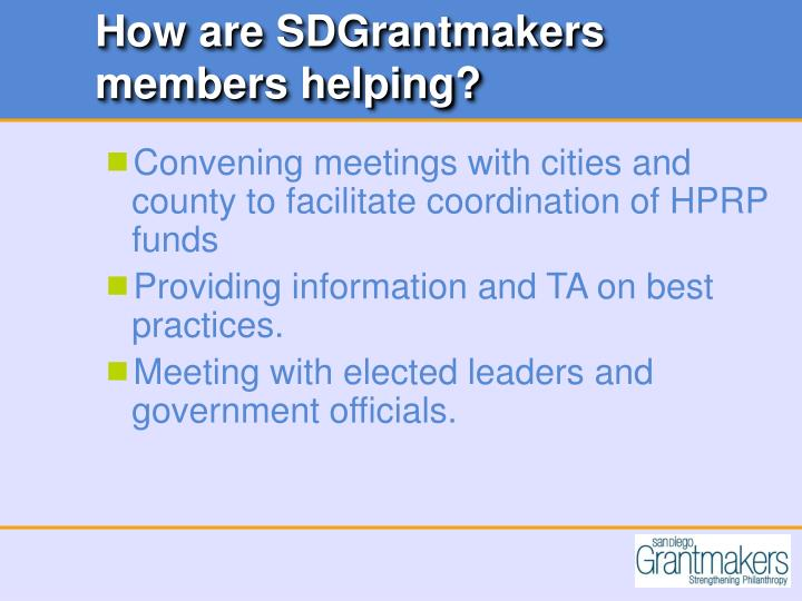 How are SDGrantmakers members helping?