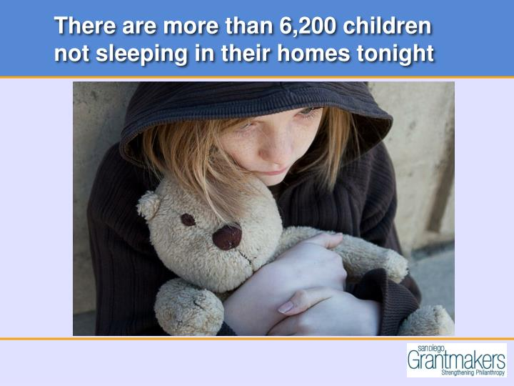 There are more than 6,200 children not sleeping in their homes tonight