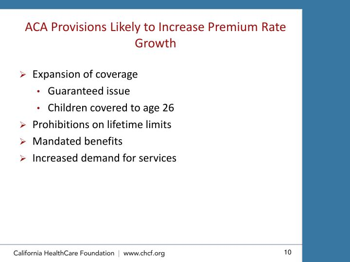 ACA Provisions Likely to Increase Premium Rate Growth