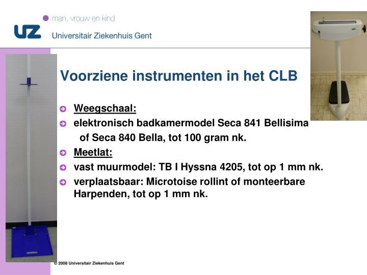 Voorziene instrumenten in het CLB