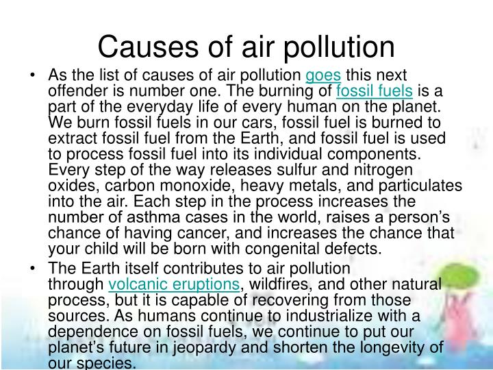 Causes of air pollution