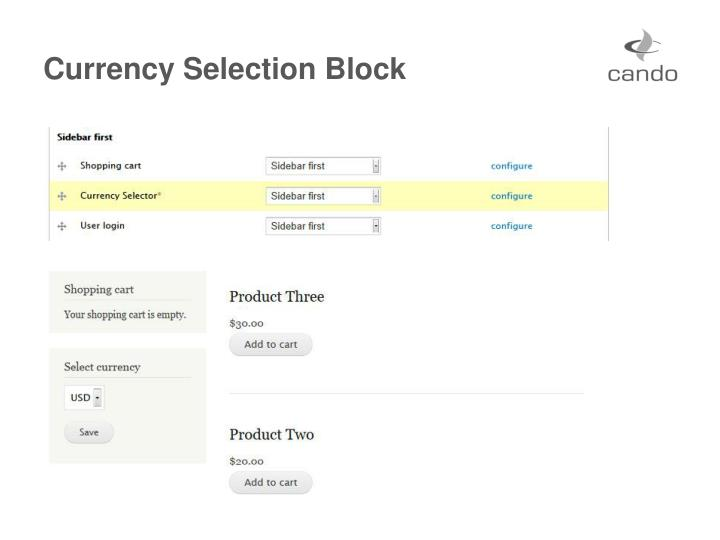 Currency Selection Block