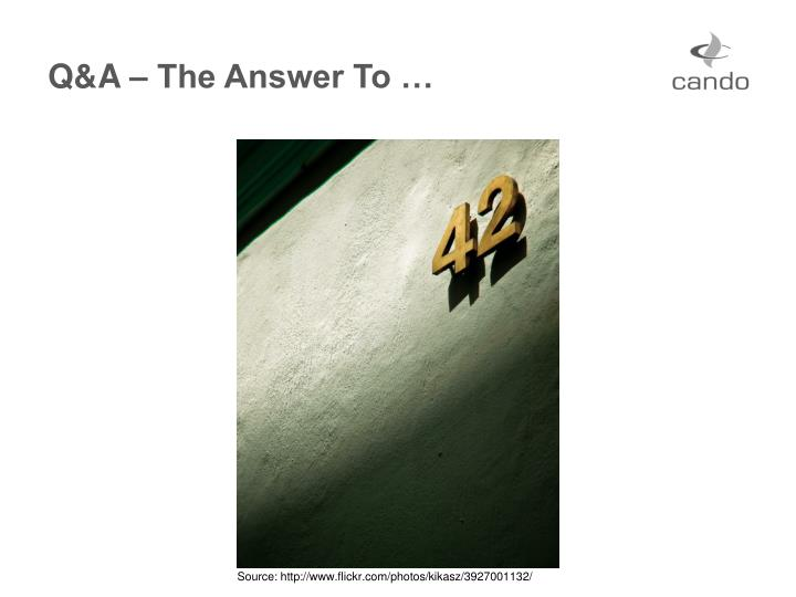 Q&A – The Answer To …