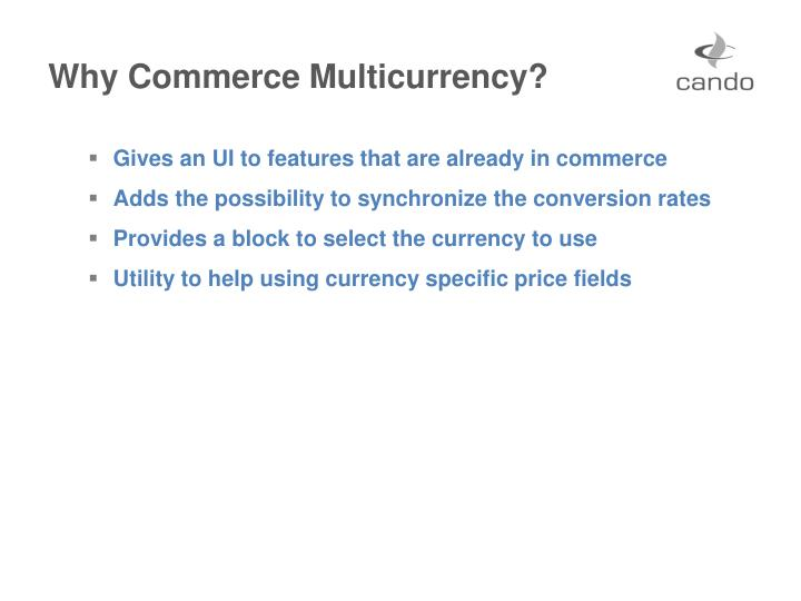 Why Commerce Multicurrency?