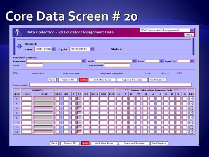 Core Data Screen # 20