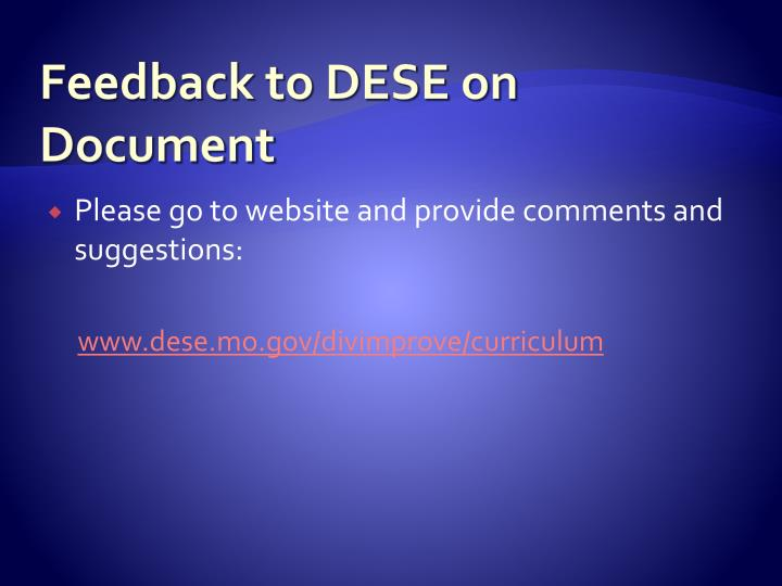 Feedback to DESE on Document