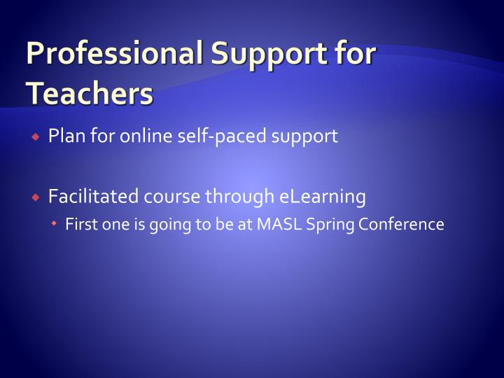 Professional Support for Teachers