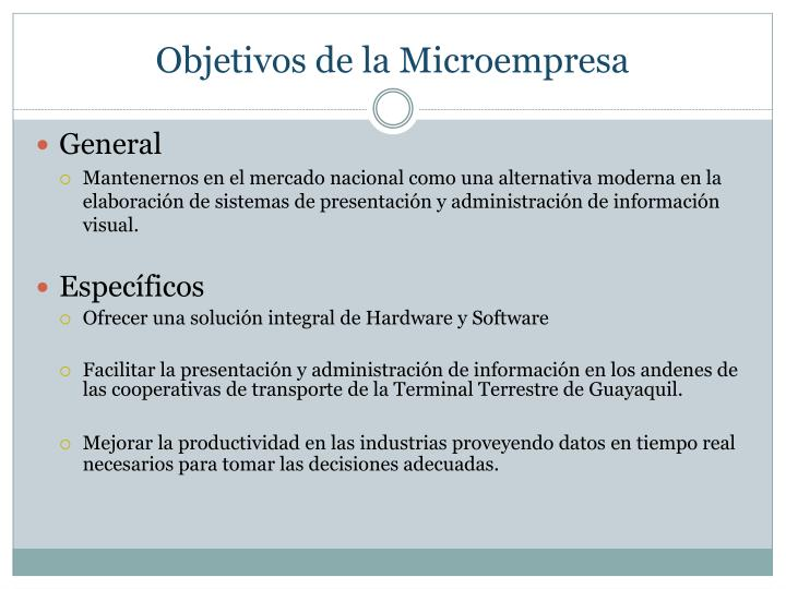 Objetivos de la Microempresa