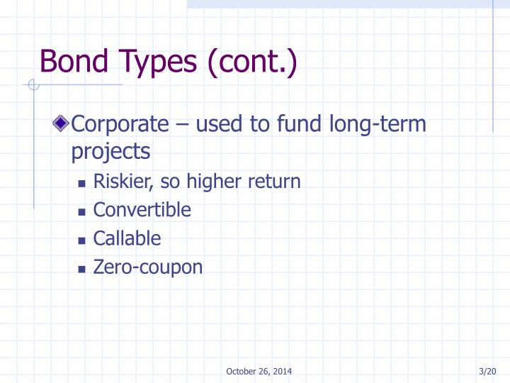 Bond types cont