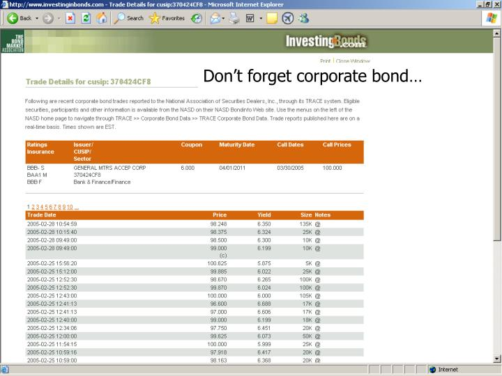 Don't forget corporate bond…