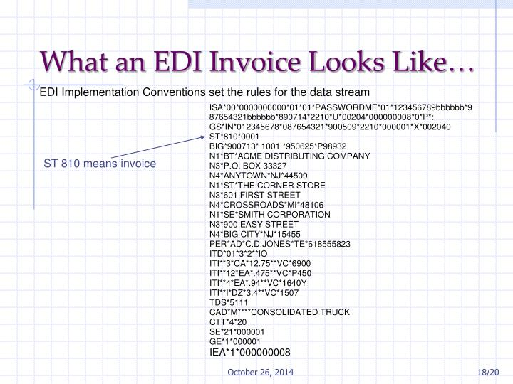 What an EDI Invoice Looks Like…