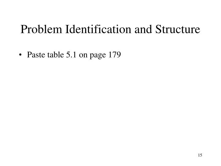 Problem Identification and Structure