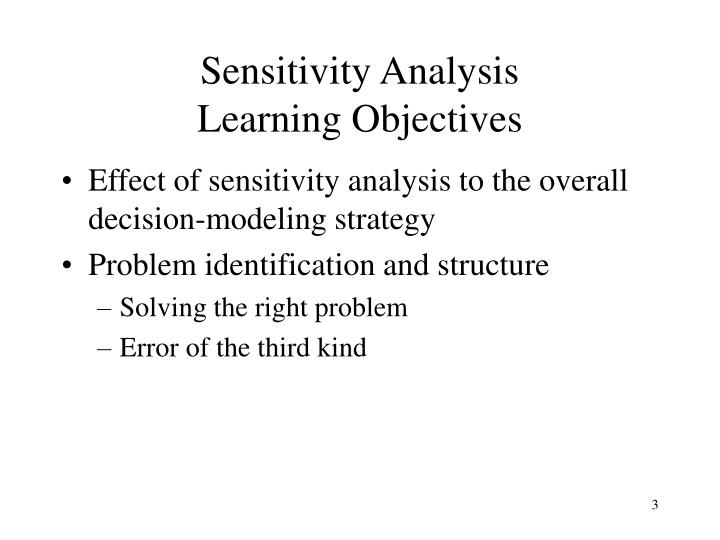 Sensitivity analysis learning objectives
