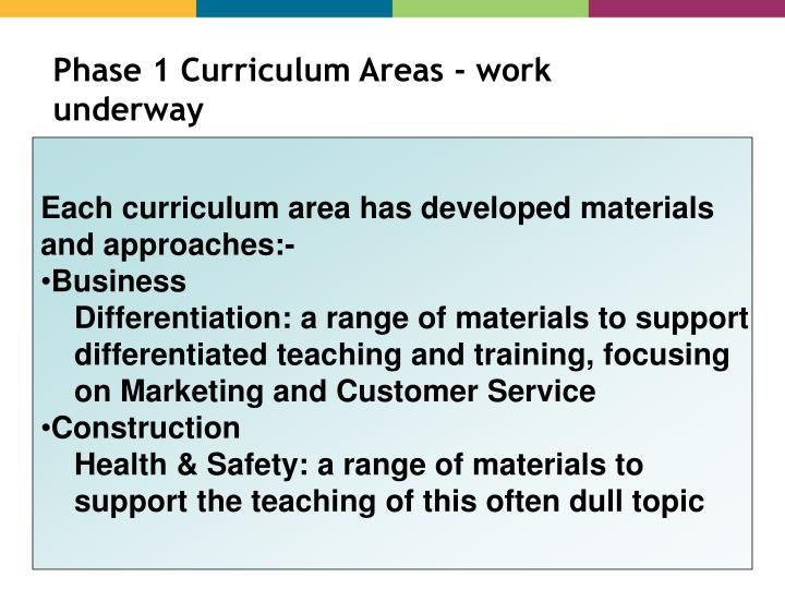 Phase 1 Curriculum Areas - work underway