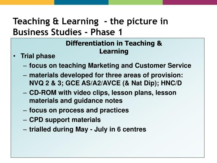 Teaching & Learning  - the picture in Business Studies - Phase 1