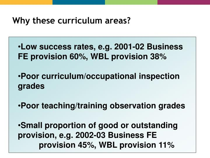 Why these curriculum areas?