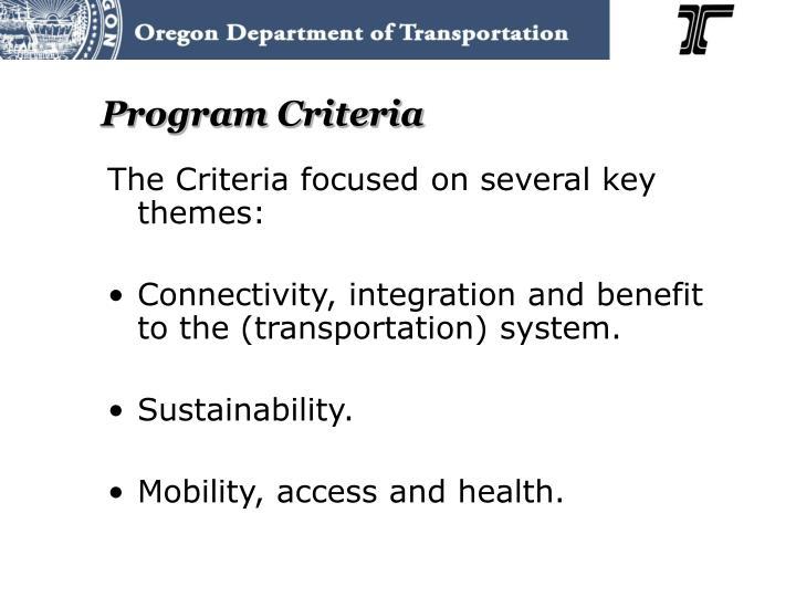 Program Criteria