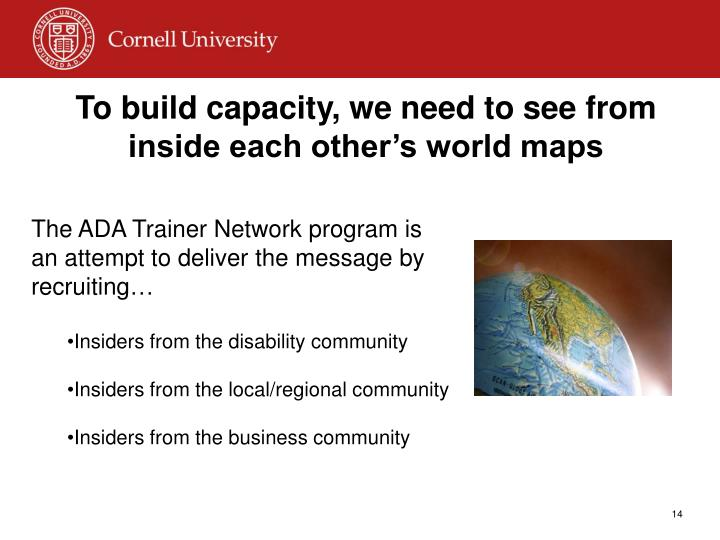 To build capacity, we need to see from inside each other's world maps