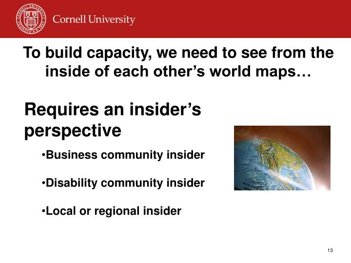 To build capacity, we need to see from the inside of each other's world maps…