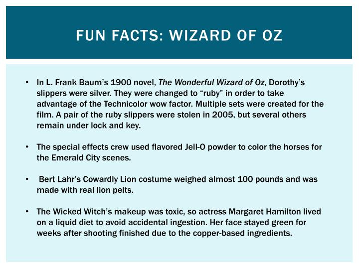 Fun Facts: Wizard of Oz