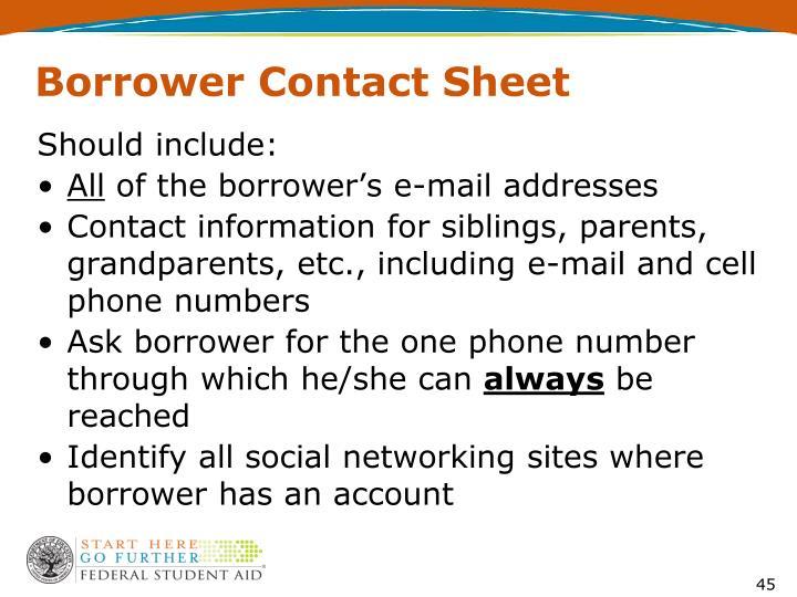 Borrower Contact Sheet