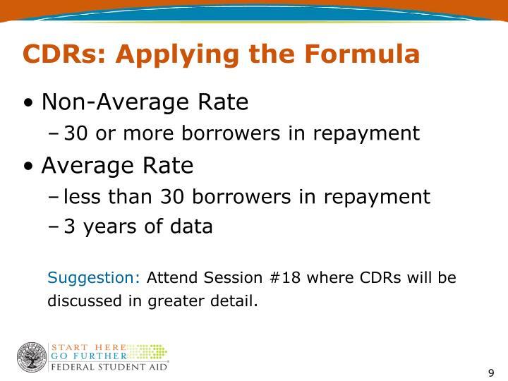 CDRs: Applying the Formula