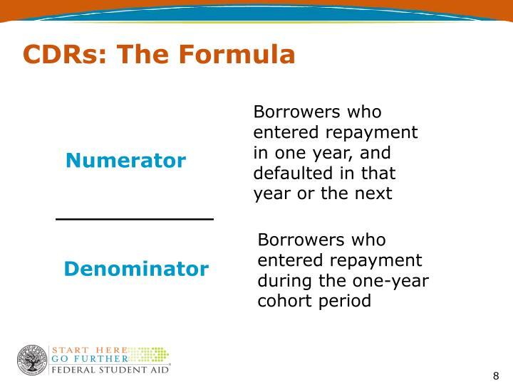 CDRs: The Formula