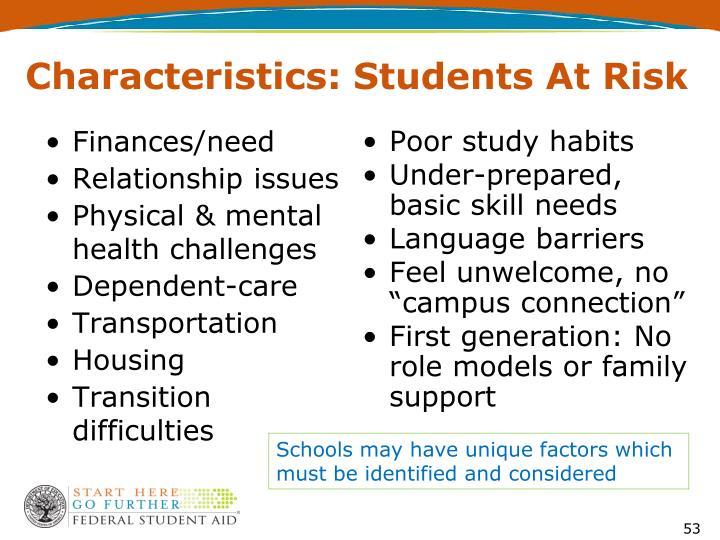 Characteristics: Students At Risk