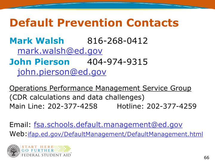 Default Prevention Contacts