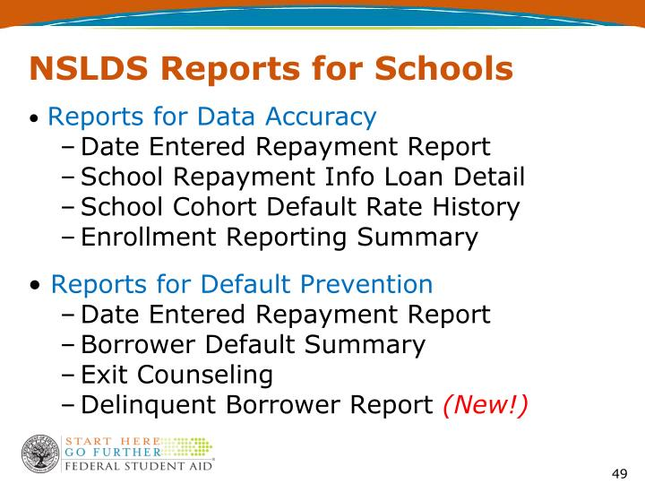 NSLDS Reports for Schools