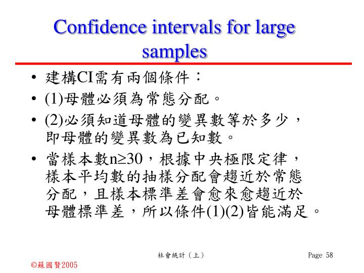 Confidence intervals for large samples