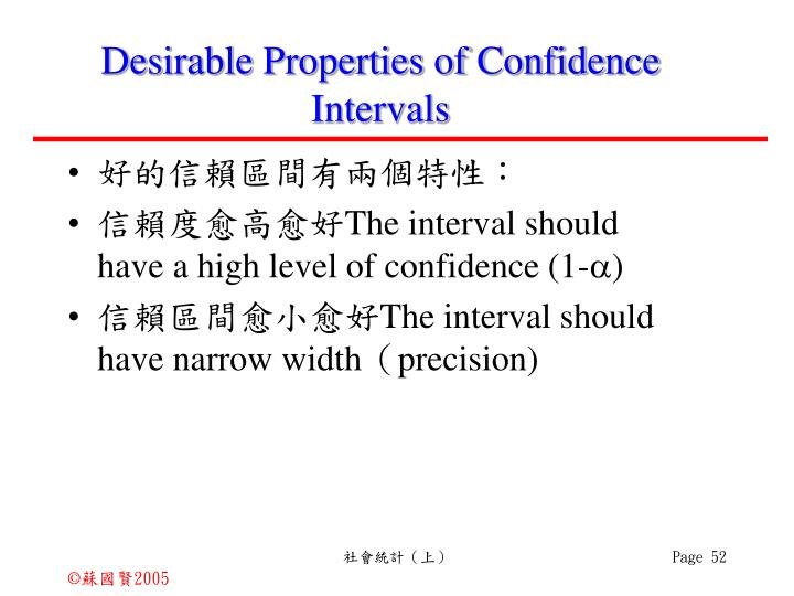 Desirable Properties of Confidence Intervals