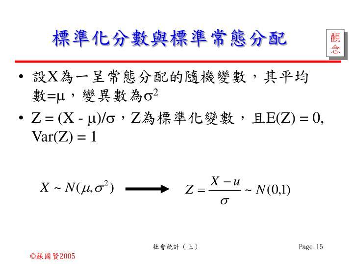 標準化分數與標準常態分配