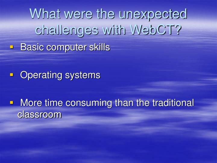 What were the unexpected challenges with WebCT?