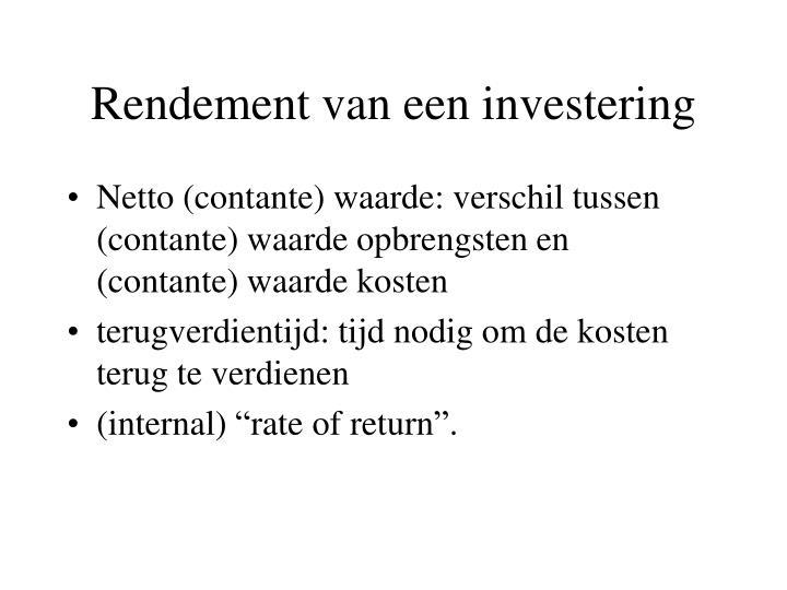 Rendement van een investering