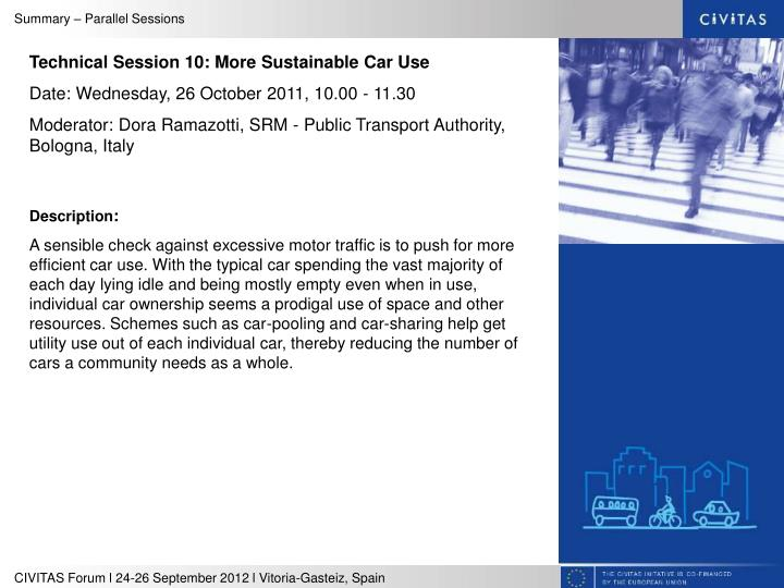 Technical Session 10: More Sustainable Car Use