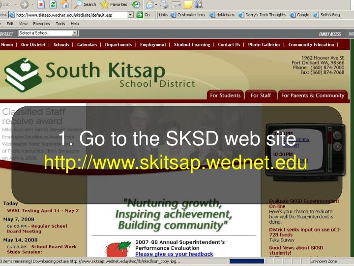 1. Go to the SKSD web site