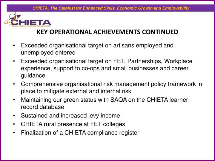 CHIETA, The Catalyst for Enhanced Skills, Economic Growth and Employability