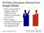 all policy discussion derives from budget debate